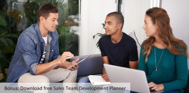 young b2b sales team meeting